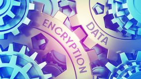 Сoncept Data Encryption on the Gears. Gold and blue gear weel background illustration 3d illustration stock illustration