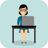 Ð¡oncept of learning with teacher, table and computer royalty free illustration