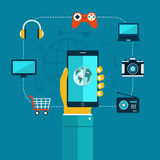 Ð¡oncept of mobiles app phone in hand, shopping, entertainment. Royalty Free Stock Images