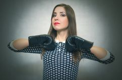 Сonfident and proud woman. Female rivalry. Bossy girl. royalty free stock photo
