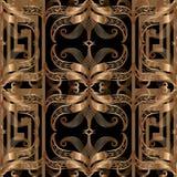 Ð¡opper coloured ornate greek 3d vector seamless pattern. Abstra. Сopper coloured ornate greek 3d vector seamless pattern. Abstract floral ornamental royalty free illustration