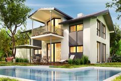 Ð¡ountry house with garage and large swimming pool stock photography