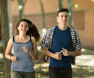 Сouple jogging in morning Stock Photo