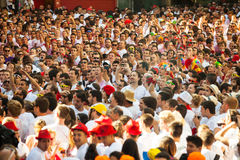 Ð¡rowd awaits the opening of  San Fermin festival Royalty Free Stock Photo