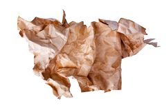 Ð¡rumpled old brown paper ball on white background isolated close up, wrinkled dirty used sheet of paper. Burnt stained pattern texture, garbage recycling royalty free stock photo