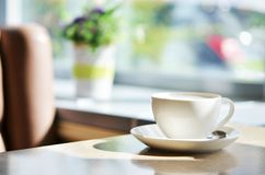 Ð¡up of coffee on table in cafe ,Morning light. Cofe time royalty free stock image