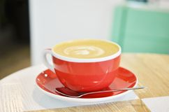 Ð¡up of coffee on table in coffee shop cafe. Cofe time royalty free stock photography