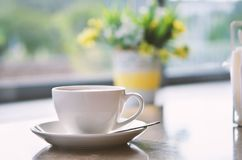 Ð¡up of coffee on table in coffee shop cafe. Cofe time. Ð¡up of coffee on table in cafe ,Morning light stock photos