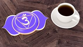 Ð¡up of coffee on a wooden table. Morning Chakra Meditation. Ajna symbol 3d illustration stock image