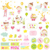 Ð¡ute Baby Girl Scrapbook Set. Vector Scrapbooking. Cute Baby Girl Scrapbook Set. Vector Scrapbooking. Decorative Elements. Baby Tags, Labels, Stickers, Notes stock illustration