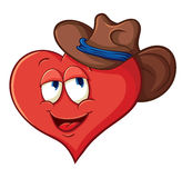 Сute cartoon heart in a cowboy hat Stock Image