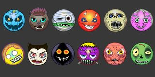 Ð¡ute emoji halloween witch happy pumpkin smile face Frankenstein ghost smilling werewolf eps zombie vector illustration