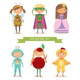 Ð¡ute kids in different costume. Children party costumes. Superhero, bee, princess, robot, cherry and chicken costume. Cartoon vector illustration of boys and stock illustration