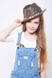 �ute teenage girl in a hat Royalty Free Stock Photography