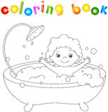 Ð¡ute toddler bathing in the bath with foam and laughing. Coloring book. Vector illustration royalty free illustration