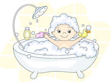 Ð¡ute toddler bathing in the bath with foam and yellow duck. Cleansers and baby shampoo stand in the bath. Vector illustration royalty free illustration
