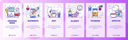 Экраны мобильного приложения onboarding Еда и здоровое питание Пищевая аллергия Шаблон знамени вектора меню для вебсайта и черни иллюстрация вектора