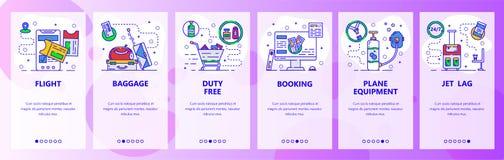 Экраны мобильного приложения onboarding Перемещение самолетом, записывая билетами на самолет, багажем и безпошлинным магазином Зн иллюстрация вектора
