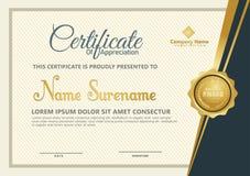 Элегантный шаблон сертификата с роскошной и современной предпосылкой картины иллюстрация штока