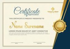 Элегантный шаблон сертификата с роскошной и современной предпосылкой картины иллюстрация вектора