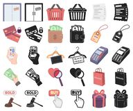 Электронная коммерция, мультфильм купли и продажи, черные значки в установленном собрании для дизайна Запас символа вектора торго бесплатная иллюстрация