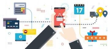 Электронная коммерция, покупая и продавая продукты в интернете иллюстрация вектора