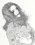 Эскиз модной женщины бесплатная иллюстрация