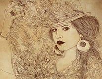 Эскиз модной женщины иллюстрация вектора
