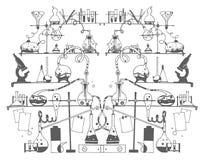 Эскиз руки вектора вычерченный иллюстрации химии на белой предпосылке бесплатная иллюстрация