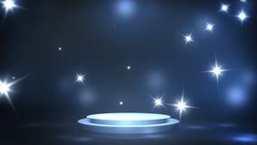 Этап с освещением пятна, пустая сцена для выставки, церемония вручения премии или реклама на синей предпосылке Закрепленное петле бесплатная иллюстрация