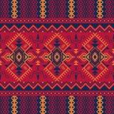 Этническая безшовная картина с геометрическим орнаментом иллюстрация вектора
