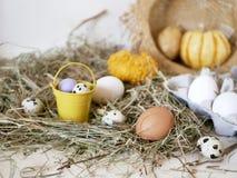 Яйца и яйца триперсток в пакете, тыквы, сено, концепция пасхи, подготовка на праздник, сбор, сезонные праздники стоковая фотография rf