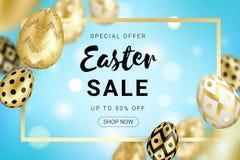 Яйца продажи пасхи золотые конструируют горизонтальное иллюстрация штока