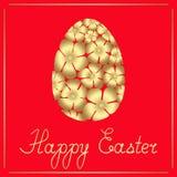 Яйцо пасхи золотое цветков и поздравительного текста Иллюстрация изолированная вектором иллюстрация штока