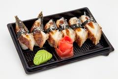 Японская традиционная кухня, готовые крены и суши в пакете, на белой предпосылке стоковое изображение rf