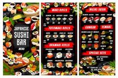 Японские меню кухни, суши вектора и крены иллюстрация вектора