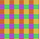 Яркая орнаментальная checkered безшовная картина, разделенная в орнаменты квадраты, этнический стиль, стильная предпосылка вектор стоковое изображение rf