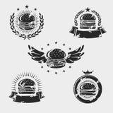 Ярлыки гамбургера и набор элементов вектор иллюстрация штока