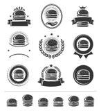 Ярлыки гамбургера и набор элементов вектор бесплатная иллюстрация