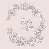 Для Интернета. Vintage painted round floral frame. Vector illustration Royalty Free Stock Images
