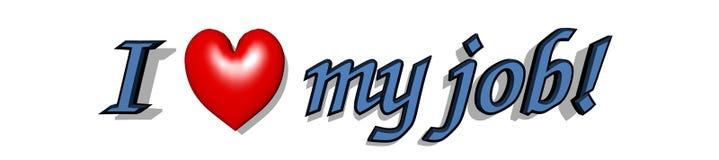 Я ЛЮБЛЮ МОЮ РАБОТУ! голубой текст 3D с красным сердцем иллюстрация вектора