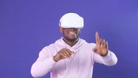 Увеличенные реальность и виртуальная реальность Соединение, технология, новое поколение, концепция прогресса сток-видео