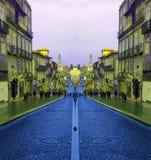 Улица Oporto в Португалии с преобразованием цвета стоковые фотографии rf