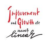 Улучшение и рост никогда линейные - для того чтобы воодушевить мотивационную цитату Литерность нарисованная рукой красивая бесплатная иллюстрация