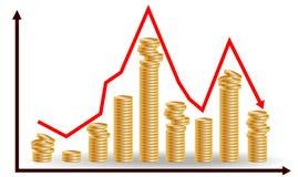 Уменьшая кучи монеток с идти вниз с диаграммы Концепция на финансовое падение иллюстрация штока