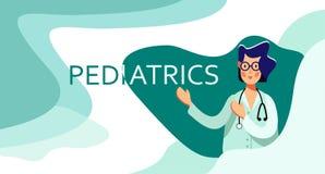 Усмехаясь доктор женщины в стеклах с пунктами стетоскопа на педиатрии слова Посещение в клинику или больницу иллюстрация штока