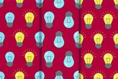 Установите 3 безшовных картин с с электрическими лампочками на красной предпосылке желтый цвет обоев вектора уравновешивания rac  иллюстрация вектора