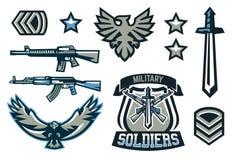 Установите военных и военных значков Эмблемы, автоматические оружия, литерность, шпага, орел, крылья, шаблоны вектор бесплатная иллюстрация