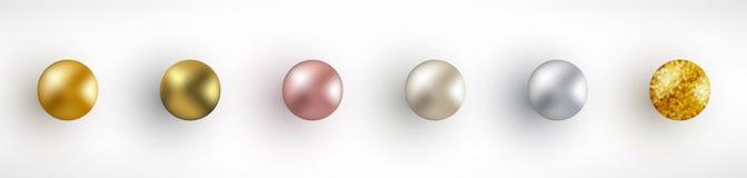 Установите золотых реалистических шариков бесплатная иллюстрация