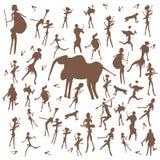 Установите иллюстрации античной культуры чертежей утеса каменного века вектора изолированной на белой предпосылке иллюстрация штока